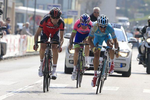 Giro del Trentino 2013 - 3a tappa Pergine Valsugana - Condino (Valle delle Chiese) 176,1 km - 18/04/2013 - Ivan Santaromita (BMC) - Paolo TiralongoÊ(Astana) - Michele Scarponi (Lampre - Merida) - foto Luca Bettini/BettiniPhoto©2013